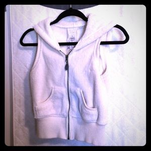 Cream (off white) Small zip up hooded furry vest
